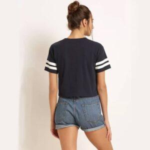 Solid, Color Black Women Round Neck Dark Navy Blue Crop T-Shirt