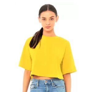 Casual Regular Sleeves Solid Women Yellow Crop Top