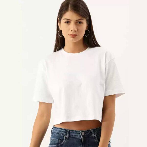 Solid Women Round Neck White Crop T-Shirt