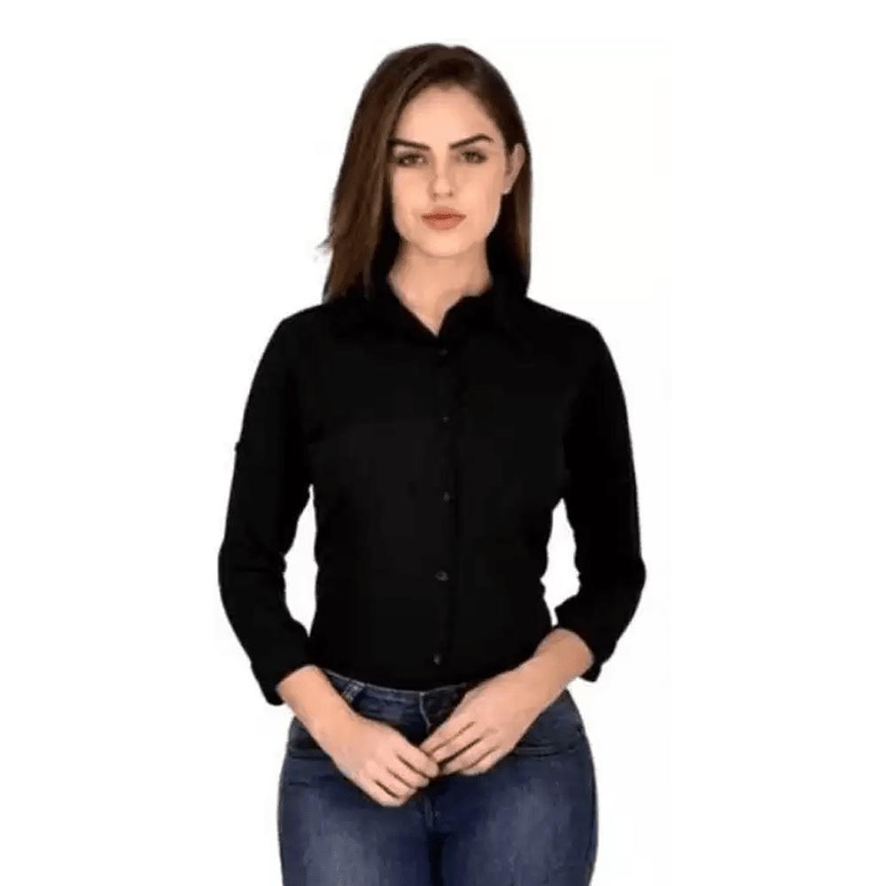 Women Regular Fit Solid Spread Collar Casual Black Shirt