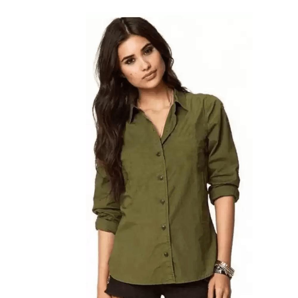 Women Solid Spread Collar Casual Shirt