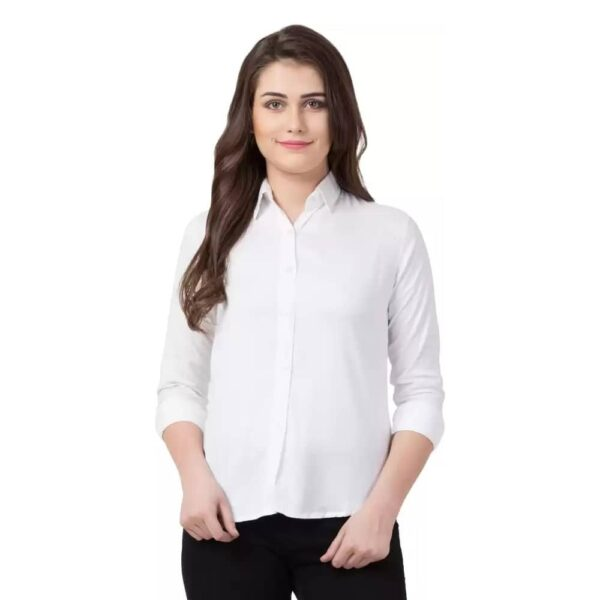 Women Regular Fit Solid Casual White Shirt