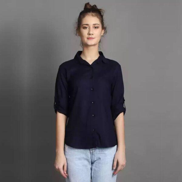 Women Regular Fit Spread Collar Formal Navy Blue Shirt