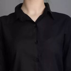 Women Regular Fit Spread Collar Formal Black Shirt